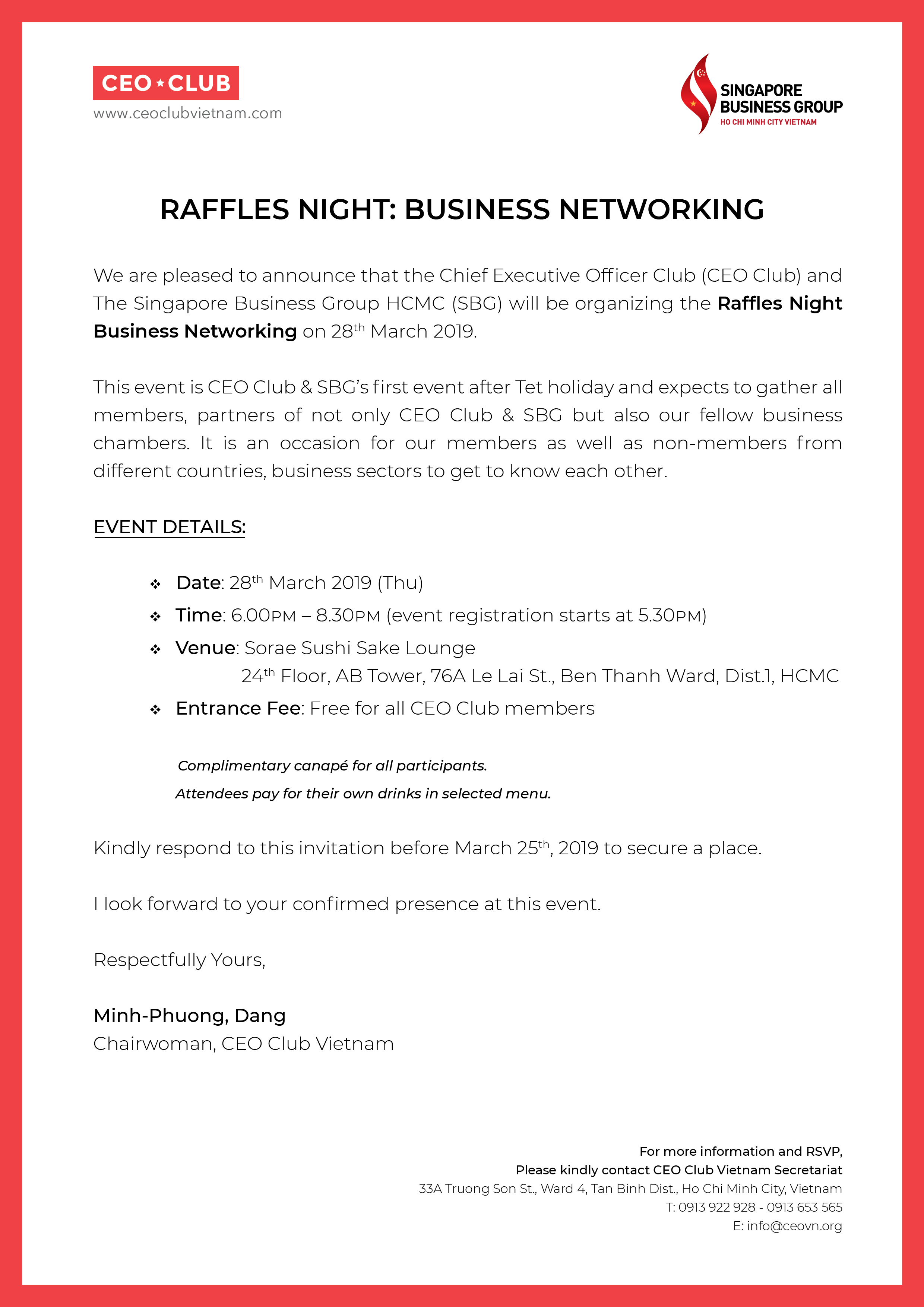 RAFFLES NIGHT - BUSINESS NETWORKING